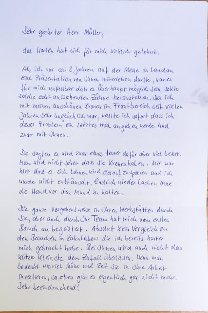 Brief von Klientin 1