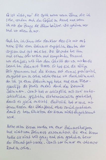 Brief von Klientin